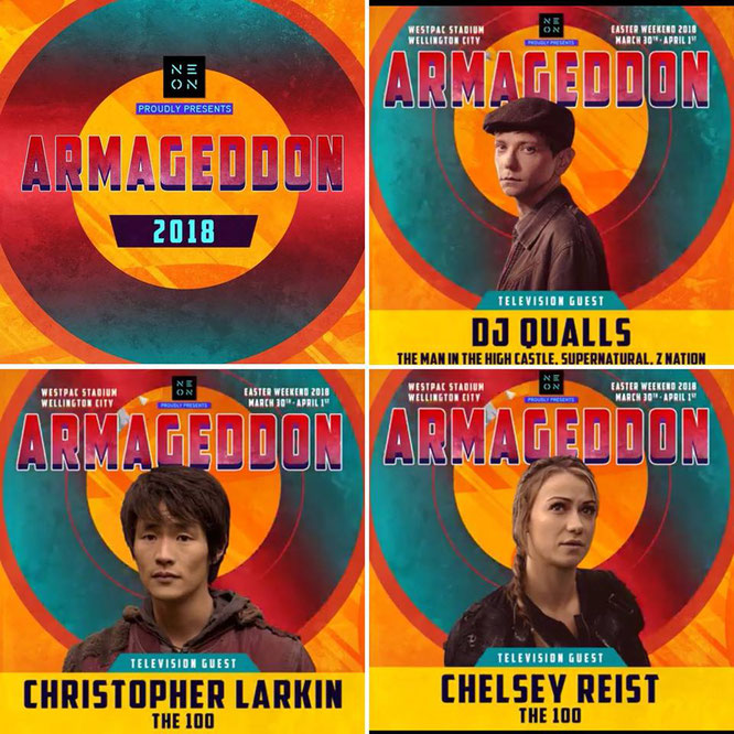 Mar 30 - Apr 1, 2018 - Wellington, New Zealand - Armageddon Expo - With DJ Qualls, Christopher Larkin, and Chelsey Reist.