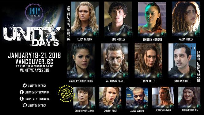 Jan 19-Jan 21, 2018 - Vancouver, B.C. - Unity Days 2 - With Lindsey Morgan, Sachin Sahel, Nadia Hilker, Jarod Joseph, Jessica Harmon, Luisa D'Oliveira, Chelsey Reist and Chris Larkin.
