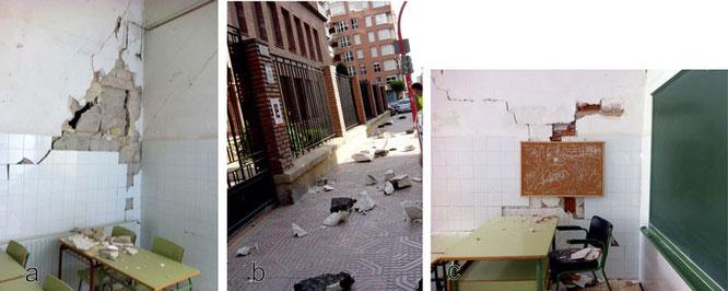 Imágenes reales de aulas y la fachada de un colegio tras los terremotos de Lorca