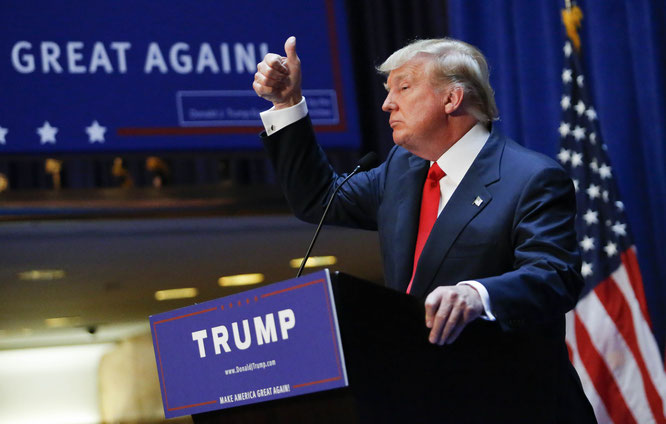 Donald Trump appeals to the audiences during his presidential election campaign. Jiji Photo