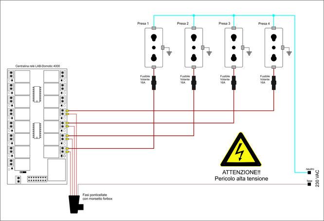 Schema Elettrico Per 4 Punti Luce : Schemi elettrici labdomotic progetto domotica e