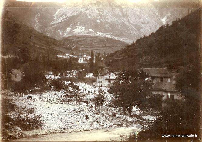 Le confluent du Nabre, engravé par la crue de 1900. © Service RTM