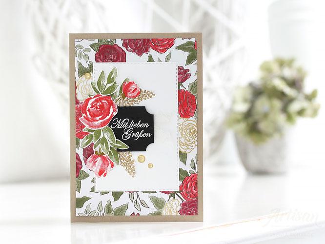 Geburtstagskarte mit designerpapier wunderbare weihnachtszeit