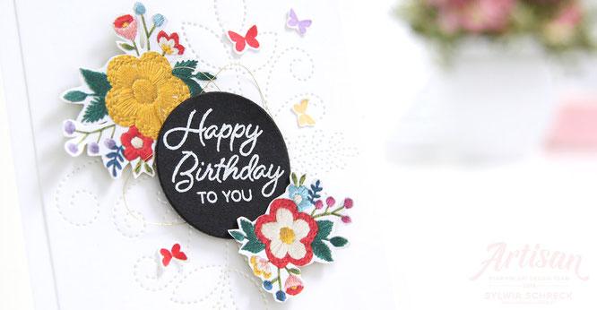 happy birthday -bestickte geburtstagskarte