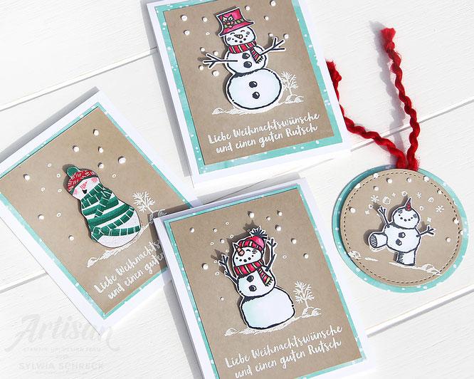 Weihnachtskarten mit Stampin up Stempelset - Frostige Grueße