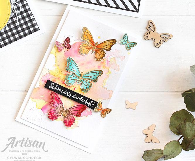Schmetterlinge Aquarellkarte Stampinup