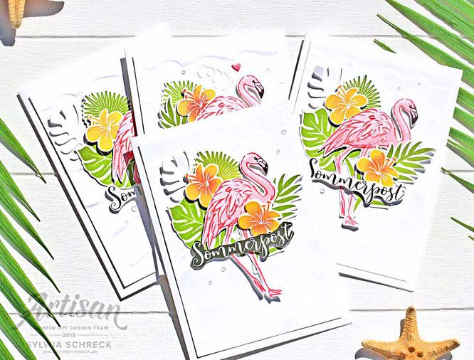 Sommerpost mit Flamingos