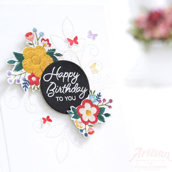 happy birthday - bestickte geburtstagskarte