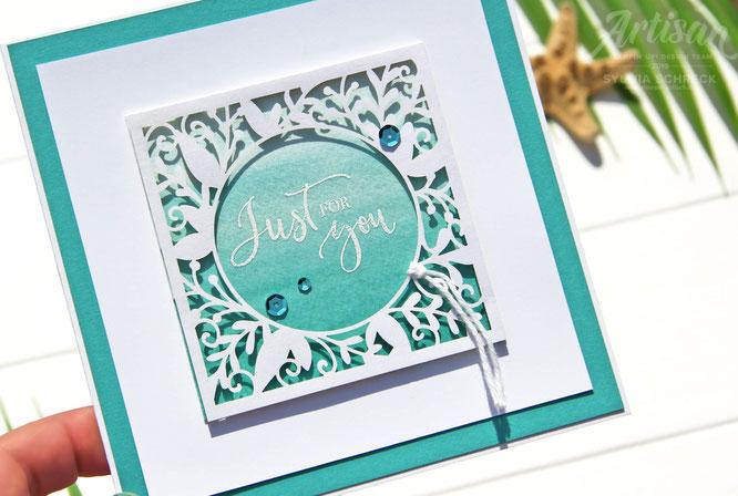Karte in Jade mit Schimmer-Stampin up