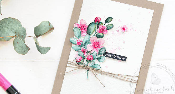 Halloechen - Grusskarte mit Aquarellelementen