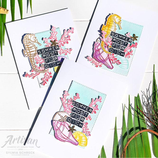 Karten- Seepferdchen-Sommerpost mit Meerwert