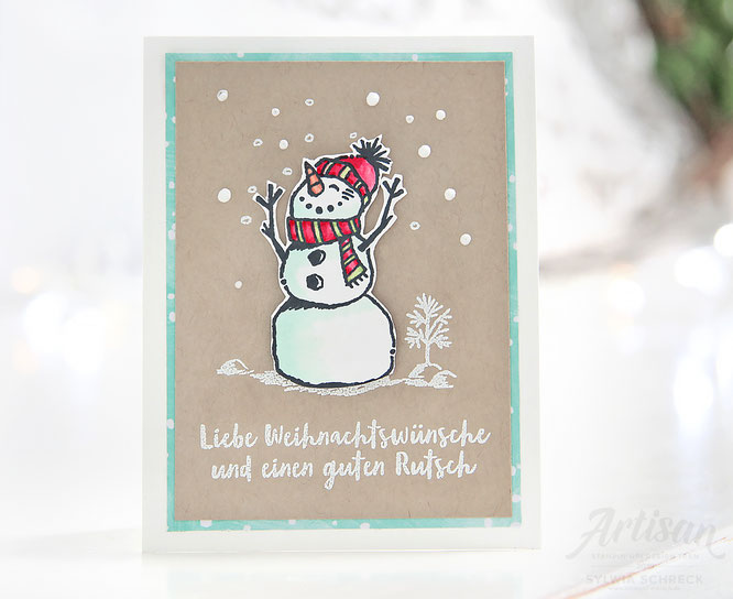 Weihnachtskarte mit Stampin up Stempelset - Frostige Grueße