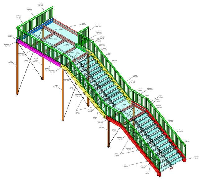 Werkplanung Treppen Positionsplan Schlosserarbeiten