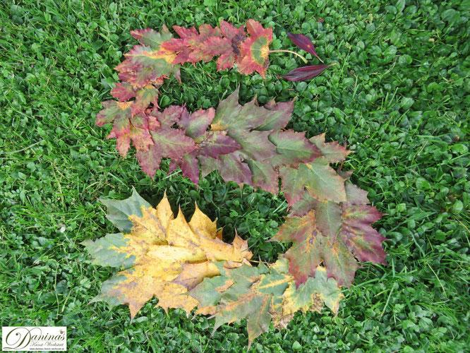Herbstblätter Landart - Schlange aus Herbstblättern im Garten by Daninas-Kunst-Werkstatt.at