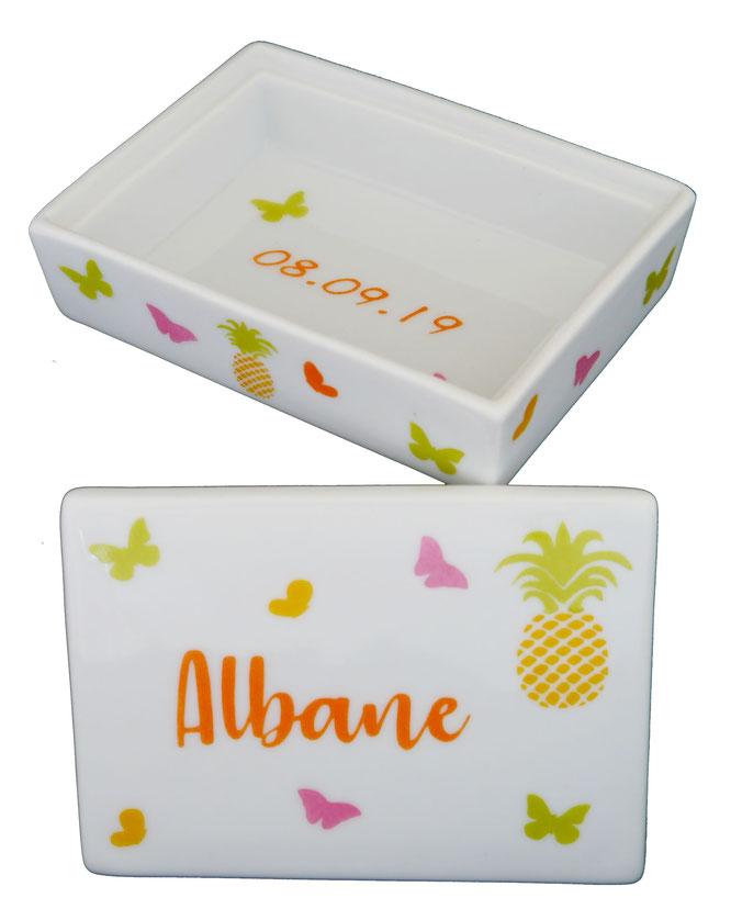 Boîte ananas en porcelaine
