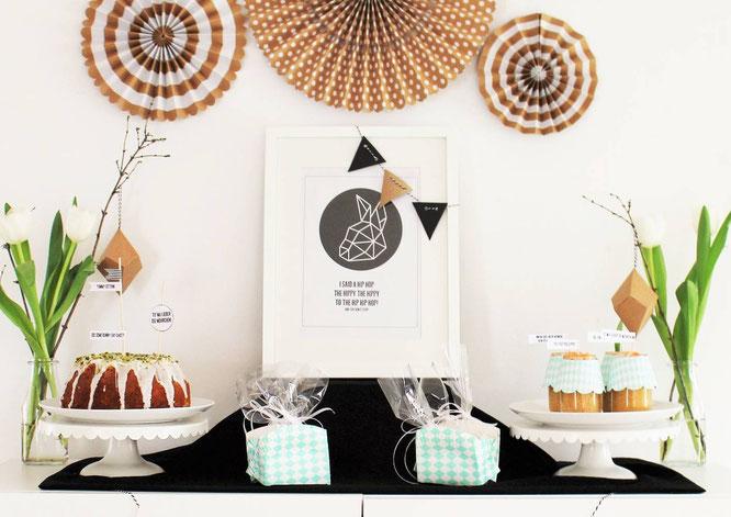 Bild: Ideen für DIY Osterdeko, Sweet-Table und Candybar für Ostern, Freebie zum nachmachen inklusive, gefunden auf Partystories.de