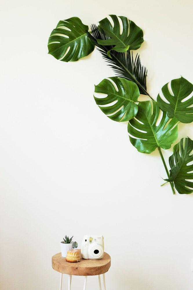 Bild: DIY Greenery und urban Jungle Deko Ideen für die Party und Hochzeit; mit Freebie Bastelvorlage für Monstera Party Deko Printables; gefunden auf www.partystories.de