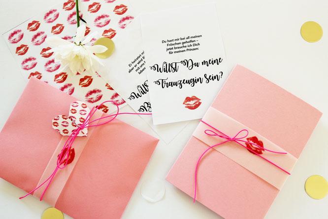 Bild: Willst Du meine Trauzeugin/Brautjungfer sein? Mit dieser DIY Idee samt kostenloser Vorlage für Karten fragst Du deine Mädels ganz kreativ! gefunden auf www.partystories.de