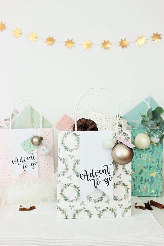 Bild: DIY Geschenk Idee für Advent und Weihnachten to-go, in der Tüte - ein kreatives Motto Geschenk für Advent und Weihnachten zum selber basteln mit Freebie Bastelvorlage für Geschenkanhänger zum ausdrucken, gefunden auf www.partystories.de