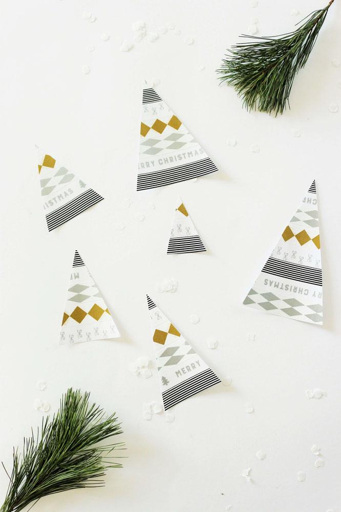Bild: DIY Tannenbaum Cake Topper - Mit dieser Anleitung Kuchentopper als Deko für Advent & Weihnachten aus Maskingtape selber machen, gefunden auf Partystories.de // #Kuchentopper #Caketopper #Kuchentopperdiy #diydeko