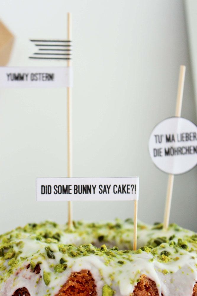 Bild: DIY Dekoration für Ostern basteln - mit diesem Freebie Vorlage schöne Kuchentopper, Cake Topper und Brunch Deko selber machen, diese und noch mehr kreative DIY Deko Ideen für Ostern gibt's auf www.partystories.de