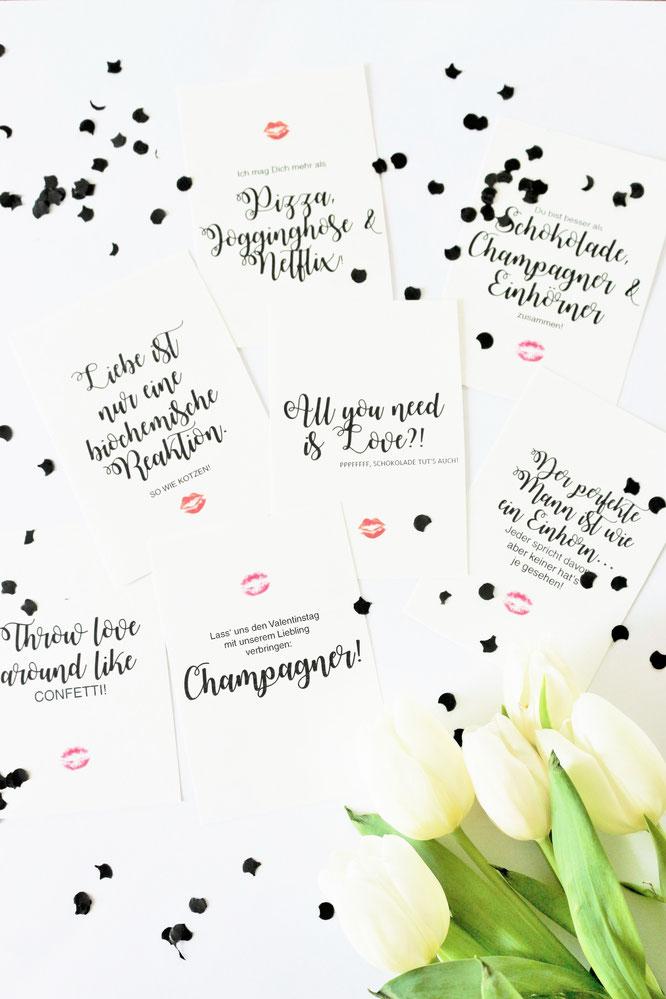 Bild: DIY Geschenk zum Valentinstag für Sie und Ihn, kreative Geschenkidee für den Valentinstag mit diesen Freebie Karten und Poster zum runterladen; gefunden auf www.partystories.de