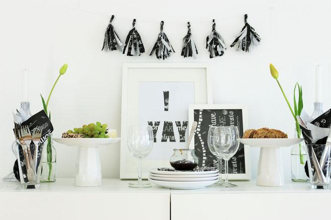 Bild: DIY Party Deko mit Servietten, so einfach kannst Du Deko aus Servietten selber machen, gefunden auf www.partystories.de