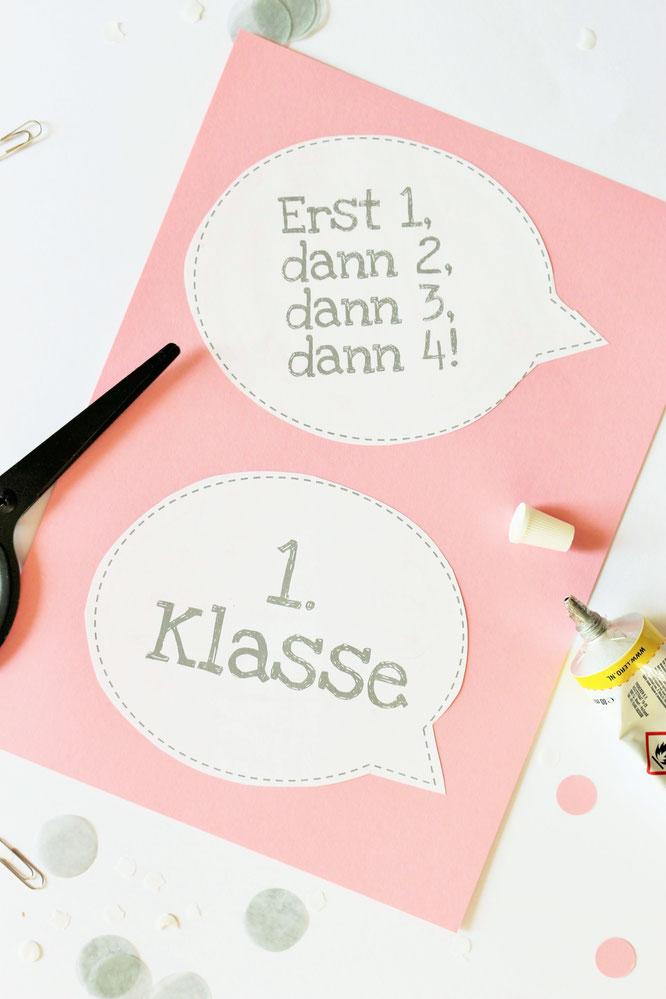 Bild: DIY Deko zur Einschulung und für die Einschulungsparty - Photoprops selber basteln für schöne Fotos mit dem Schulkind, mit Freebie Bastelvorlage von Partystories.de