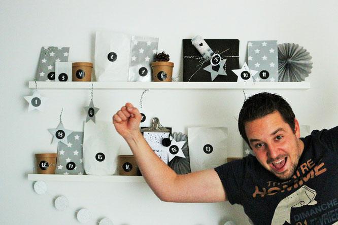 Bild: Diese DIY Adventskalender Idee für IHN mit Freebie Gutscheinen zum Ausdrucken und Verschenken ganz schnell und einfach selber basteln; gefunden auf www.partystories.de