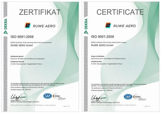 RUWE AERO - Zertifiziert nach ISO 9001:2008
