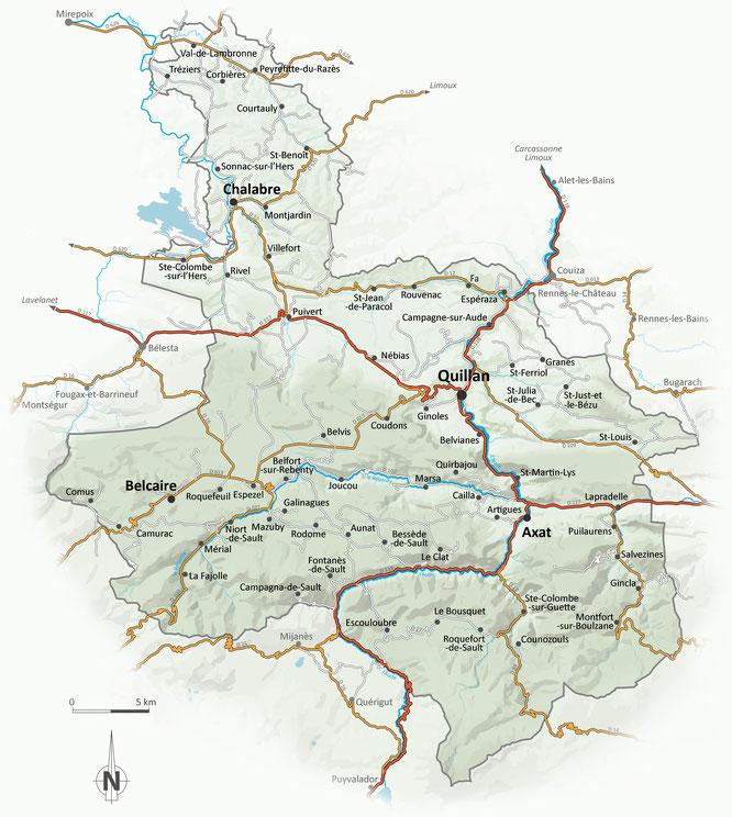 carte des communes de la communauté de communes des Pyrénées Audoises