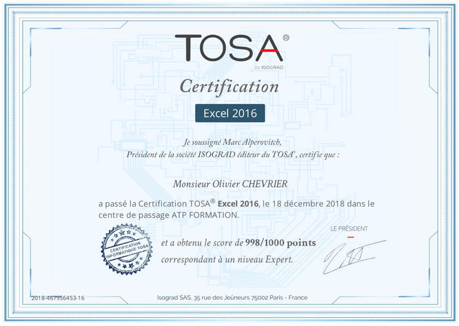Certification TOSA EXCEL 2016