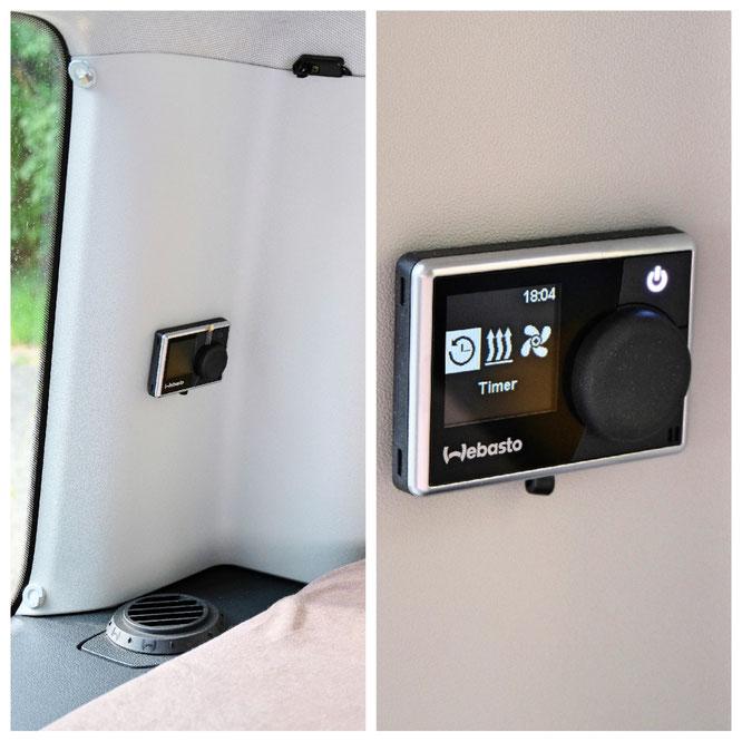 Steuerung im MiniCamper an der C-Säule, Auslass in der Verkleidung und Thermostat oben
