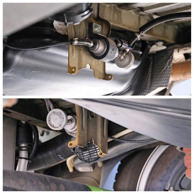 Die Benzinpumpe oben und der Ansaugschlauch für die Frischluft unten