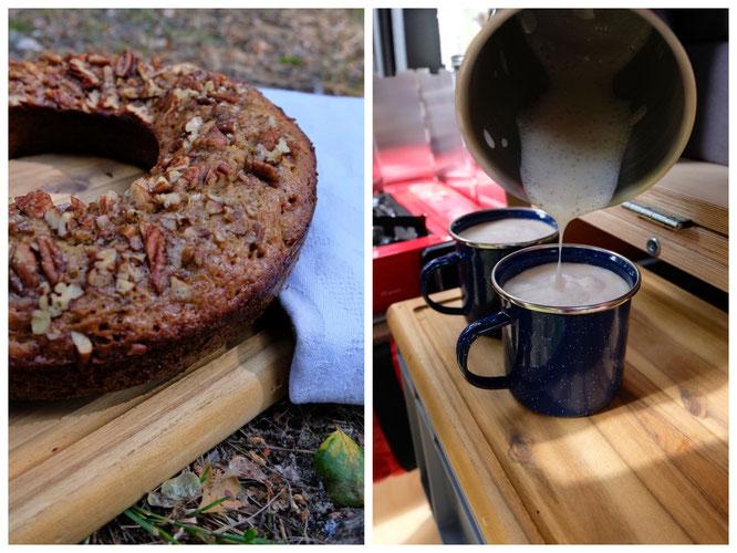 Auf dem Campingplatz frisch gebacken, dazu ein leckerer Cappuccino, so lässt's sich Leben