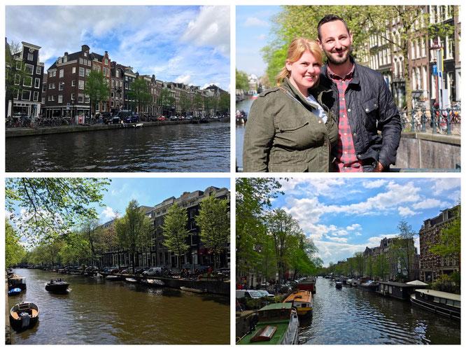 Die lange ersehnten Grachten von Amsterdam bei traumhaftem Wetter