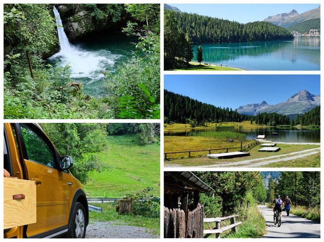 Links im Bild Impressionen der Anfahrt. Rechts St. Moritz See & Statzer See