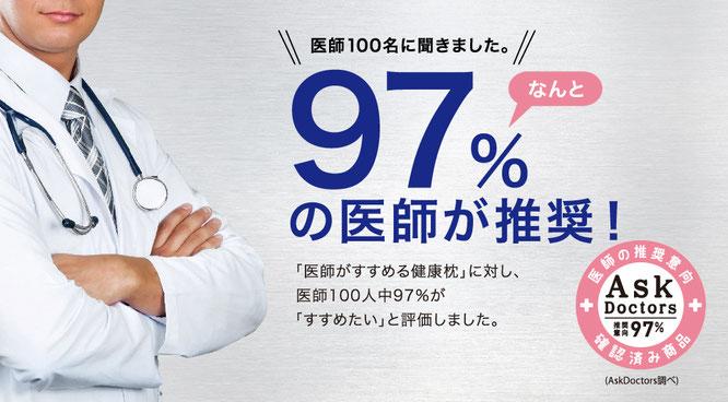 医師100名に聞きました。97%の医師が推奨!医師がすすめる健康枕