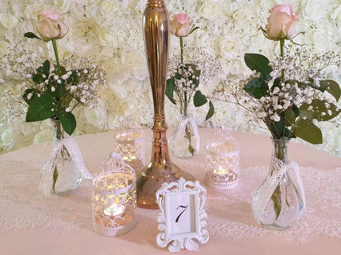 Vintage Dekoration Tischläufer mit Spitze und Kerzenständer rosegold weiß