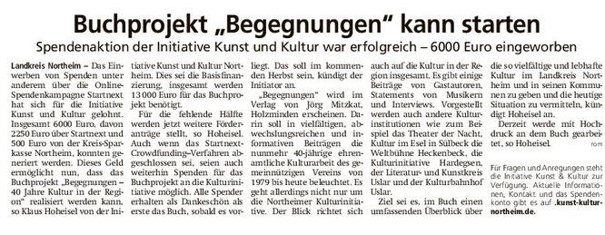 Buchprojekt Begegnungen kann starten - HNA 06.02.2021