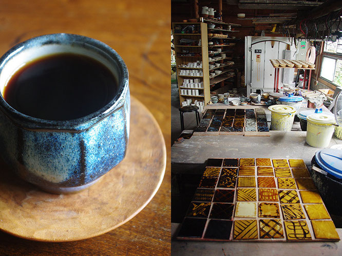 左が今回購入させていただいた海鼠釉のカップ。黄釉とともに、布志名焼の窯元のひとつ「湯町窯」を代表する「色」です。右は工房に並ぶ「スリップウェア」による陶板の数々。スリップウェアはバーナード・リーチが布志名焼を訪ねた時に指導した技法で、濡れた化粧土の表面をスポイトで模様を描き、ガレナ釉と呼ばれる鉛釉を掛け焼き上げます