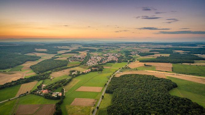 Poppenhausen Schweinfurt Unterfranken Luftbild Dji Drohne Copter Lightroom Landschaft Sonnenuntergang