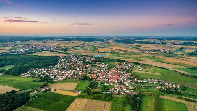 Ebenhausen Unterfranken Luftbild Drohne Copter Sonnenuntergang Schweinfurt