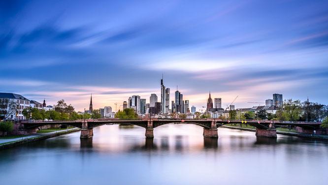 Frankfurt Main Stadt Deutschland Skyline Langzeitbelichtung