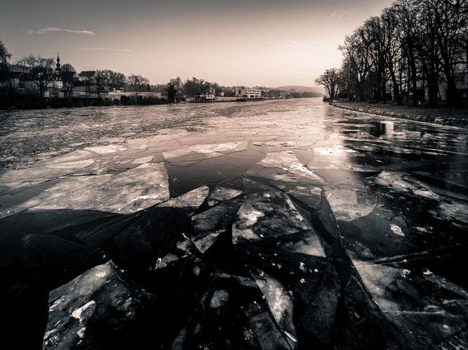 schweinfurt, main, fluss, eis, winter, wasser, unterfranken, olympus, omd,