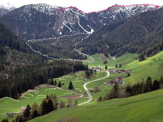 Abriss (rot) und Ablagerungsgebiet (samt Toma) des Bergsturzes vom Pragser Wildsee (Bild: M. Ostermann)
