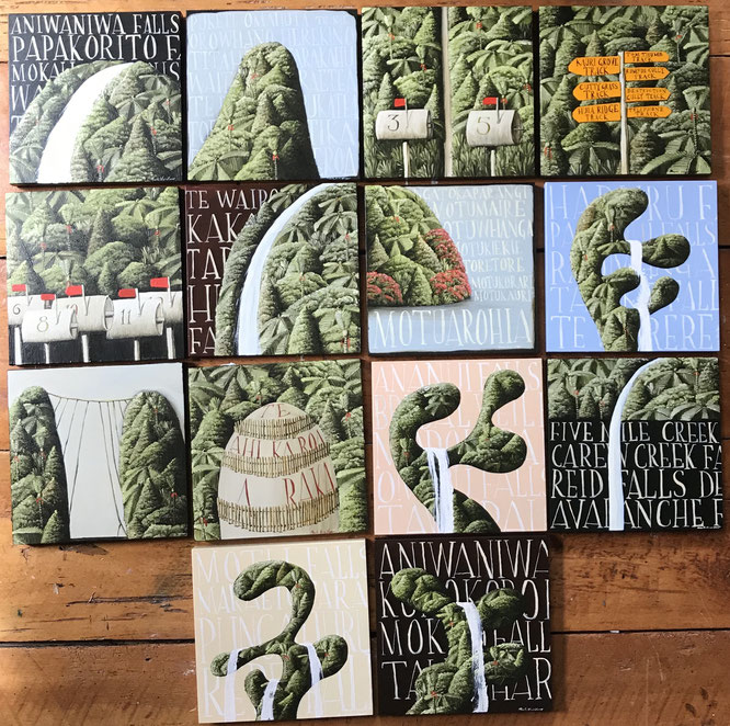 14 small panels each 20 x 20 cm, Oil on board 2018