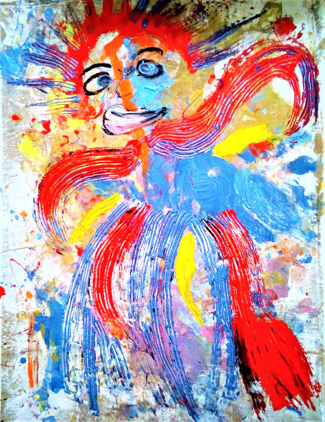 The clown in the bird  150 x 170cm  oel on linen  serial: mother earth
