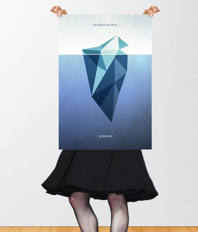 Wahrnehmung, Characterdesign, Selbstwahrnehmung, Lebensvision, Typoposter Eisberg, So bin ich, so siehst du mich - Retro Vintage Stil