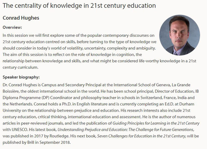 Keynote at the University of Bath's Conference on the International Baccalaureate (19-21 June, 2018)